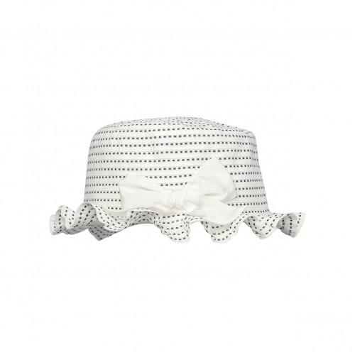 White & Black Striped Ribbon Ruffle Hat