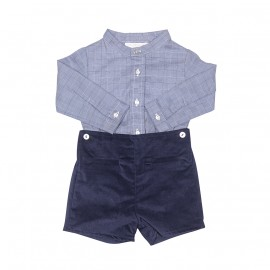 Checked Shirt with Navy Trousers Set