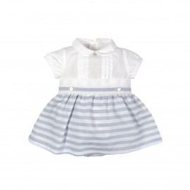 White Top with Striped Skirt Set