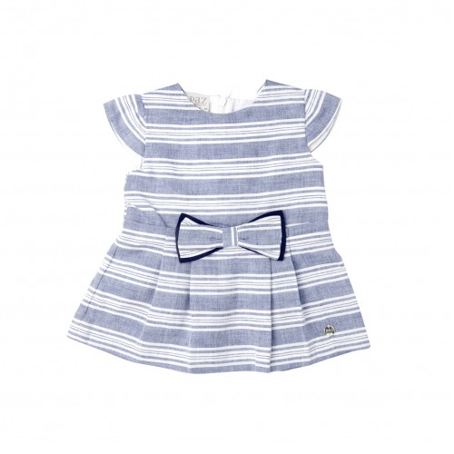 Blue & White Striped Dress with Bow