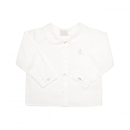 White Shirt with Brown Embroidery