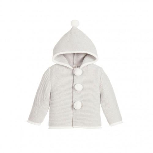 Grey Pom Pom Coat