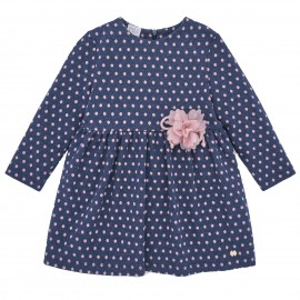 Navy Blue Dress with Pink Polka Dots
