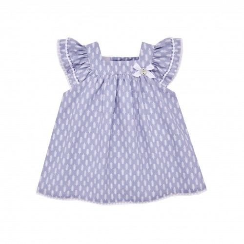 Patterned Blue Dress with Bow