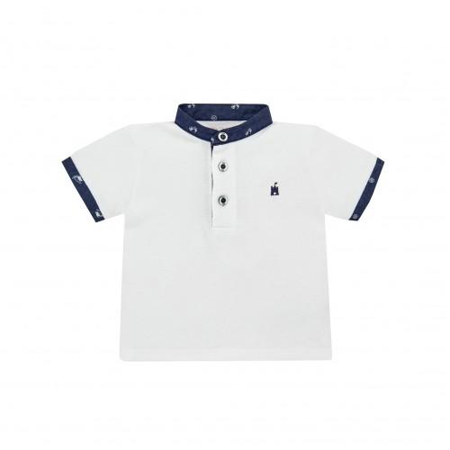 White Polo Shirt with Navy Collar