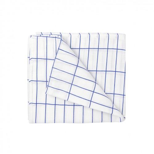 White & Blue Grid Swaddle