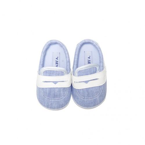Blue Linen Blend Shoes