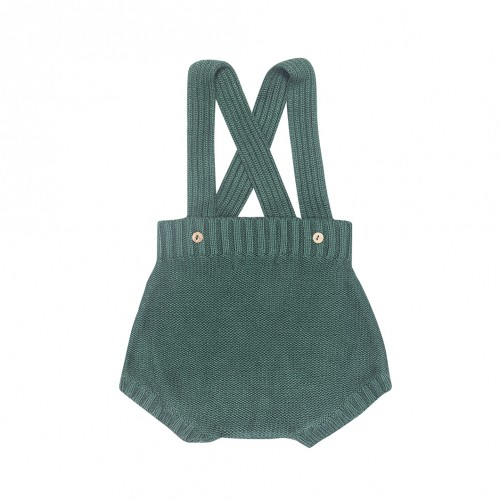 Knit Bloomers Dungaree in Bottle Green