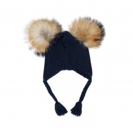 Navy Double Pom Pom Hat
