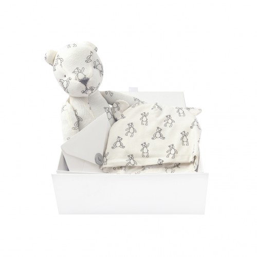 Printed Bonnet & Bear Gift Set