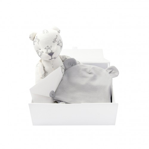 Grey Bonnet & Bear Gift Set