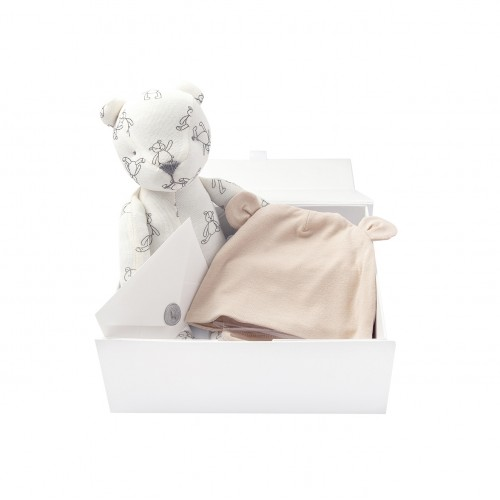 Peach Bonnet & Bear Gift Set