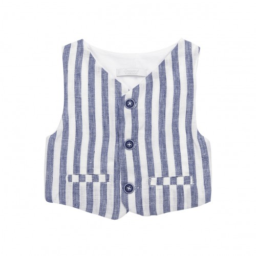 Blue & White Stripes Linen Vest