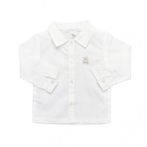Bear Embroidery White Shirt