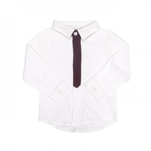White Shirt with Burgundy Placket