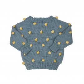 Hand-knitted Viola Teal Sweater