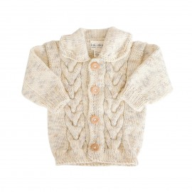 Hand-knitted Lea Cream Cardigan