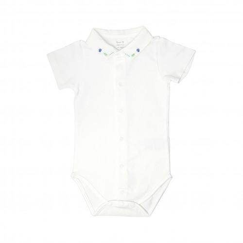 Embroidered Collar White Bodysuit