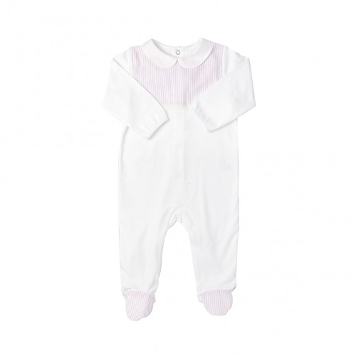 Baby Pink Striped White Bodysuit