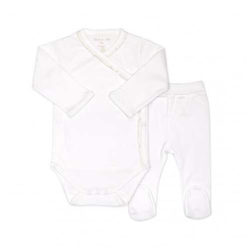 New Born Body and Pants Set in White
