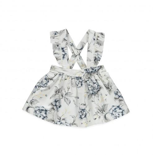 Midnight Blue Floral on Cream Dress